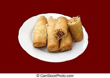 chicken spring rolls & vegetables