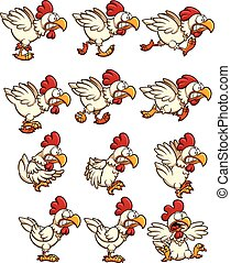 Chicken sprites with running, idle and flying animations. ...