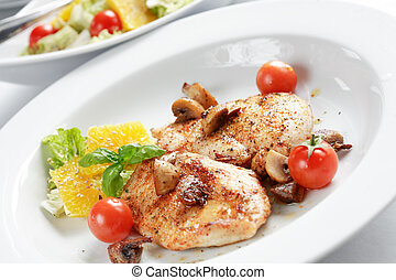 Chicken steak with salad - Delicious chicken steak with ...
