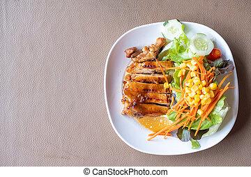 Chicken steak with teriyaki sauce
