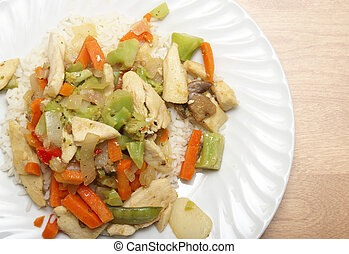 Chicken Stir Fry - An overhead shot of a delicious plate of...