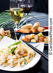 chicken stir-fry and wine - a delicious chinese chicken...