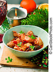 chicken., style, chasseur