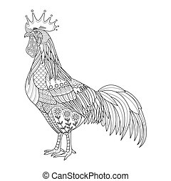 Chicken stylized for coloring book for adult, rooster tattoo, T- shirt design, cards and design element. vector illustration isolated.