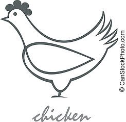 Stylized vector image of hen. Can be used as the designation of products from chicken. Isolated design element.