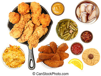 Chicken Tenders, Iced Tea and Side Items
