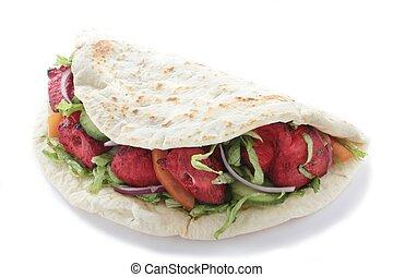 chicken tikka naan bread kebab isolated on white background