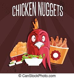 chicken time fast food vector illustration