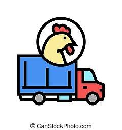 chicken truck transportation color icon vector illustration