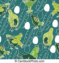 Chicken vector cartoon chick character hen and rooster, white outlines, aqua background,, white eggs and white feather silhouette. Repeating pattern.