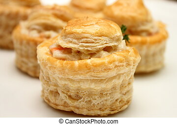 Chicken vol-au-vent on a plate.