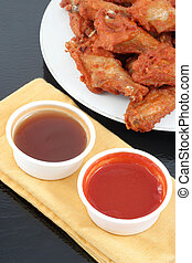 chicken wings and dips