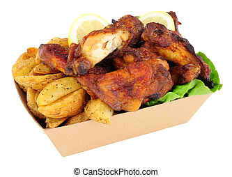 Chicken Wings And Potato Wedges In A Cardboard Take Away Tray