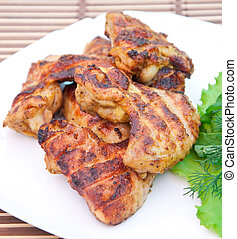Chicken wings with salad