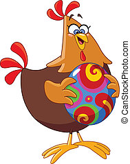 Chicken with easter egg - Cartoon chicken holding an easter ...