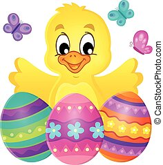 Chicken with Easter eggs theme