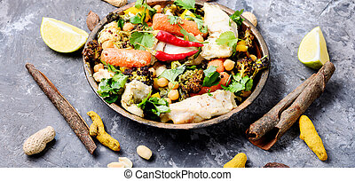 Chicken with vegetables and spicy