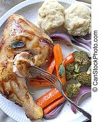 Chicken with vegetables vertical