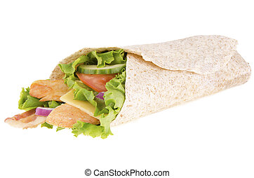 Chicken wrap, bacon, lettuce and tomato, isolated on white...