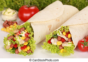 Chicken Wraps - Chicken wrap sandwiches filled with beans,...