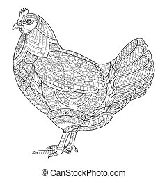 Chicken zentangle stylized for coloring book for adult, tattoo, T- shirt design, cards and design element.  vector illustration isolated.