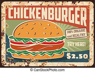 Chickenburger fast food rusty metal plate tin sign