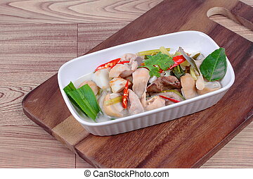 Chicken,galangal in coconut soup