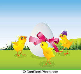 Chickens and egg on meadow