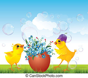 Chickens and floral egg on meadow