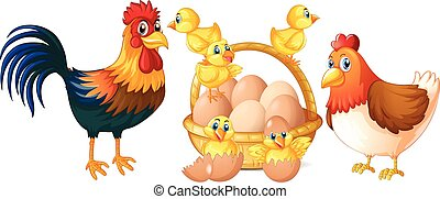 Chickens and little chicks with basket of eggs