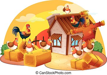 Chickens and scarecrow in the farm