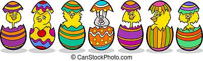 chickens in easter eggs cartoon illustration