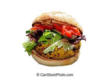 Chickpea burger on sesame seed bun.