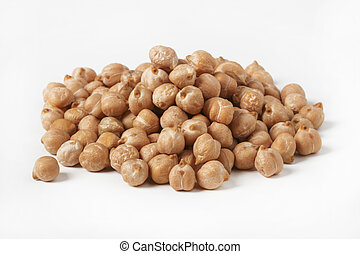 Handful of chickpea seeds close up isolated on white background