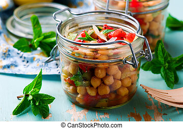 chickpea lunch salad in a jar..style rustic.