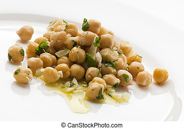 Fresh chickpea salad on a plate close up shoot