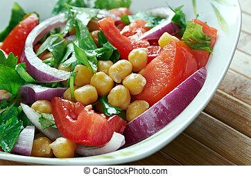 Chickpea salad Kurdish - Nohut salatas?.Middle Eastern cuisine