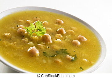 Fresh hot chickpea soup close up shoot