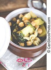 Chickpeas stewed with sepia spinach and potatoes