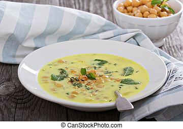 Chickpea Stew with Saffron, Yogurt and Garlic