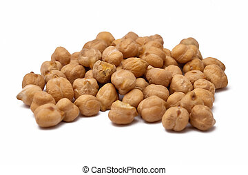 Chickpeas - A handful of chickpeas isolated on white...