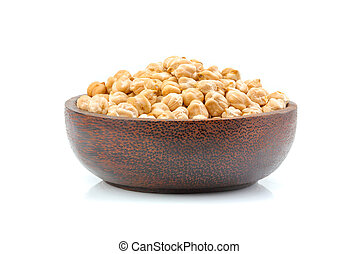 Chickpeas in a bowl isolated.