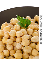 Chickpeas in a brown plate