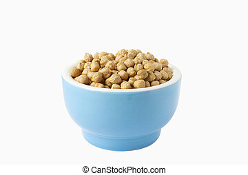 Chickpeas in a handmade ceramic bowl on grey background. Garbanzo beans traditional Near Easten food.