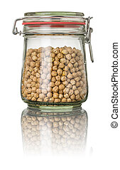 Chickpeas in a jar