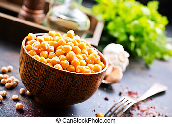 chickpeas  in bowl and on a table