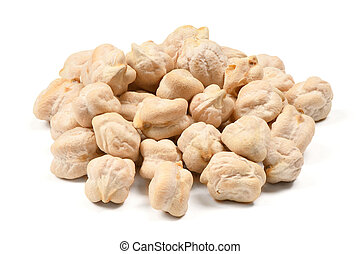 Chickpeas isolated on white background. Close-up shot.