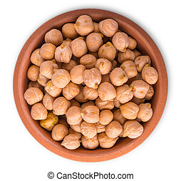 chickpeas isolated on white background. top view.