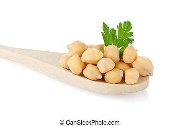 chickpeas over spoon - chickpeas over wooden spoon on white...