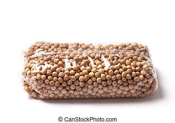 Chickpeas, packaged in a plastic bag isolated on white.